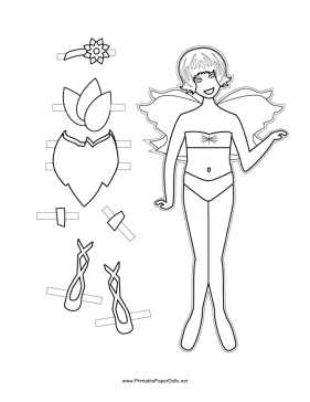 Fairy Paper Doll with Flower to Color paper doll