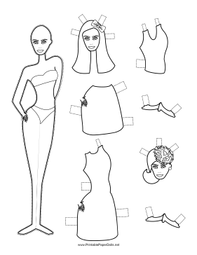 Fashion Paper Doll with Bow to Color paper doll