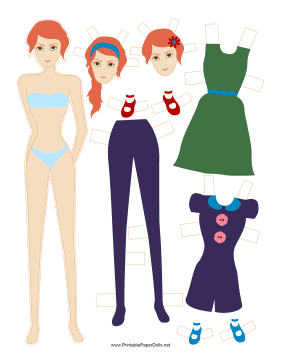 Fashion Paper Doll with Flower paper doll