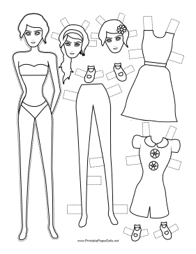 Fashion Paper Doll with Flower to Color paper doll