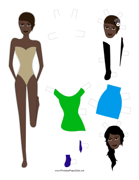 Fashion Paper Doll with Headpiece paper doll