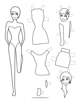 Fashion Paper Doll with Headpiece to Color paper doll
