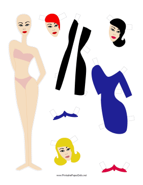 Fashion Paper Doll with Stripe paper doll