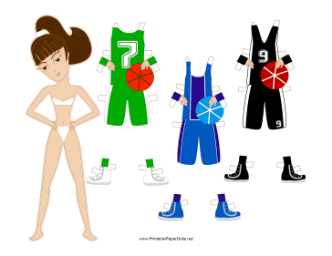 Female Basketball Player Paper Doll with Headband paper doll