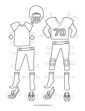Female football player paper doll uniforms to color for Football cutout template