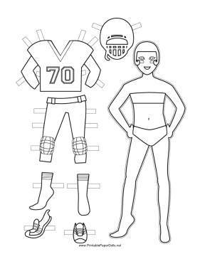 Female Football Player Paper Doll to Color paper doll