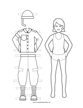 Female Soldier Paper Doll to Color paper doll