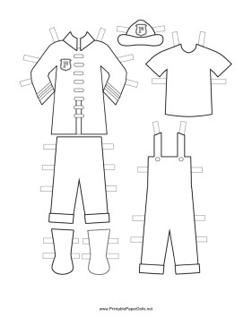 Fireman Paper Doll Uniforms to Color paper doll