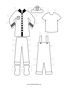 Firewoman Paper Doll Uniforms to Color paper doll