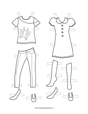 Girl Paper Doll Outfits to Color paper doll
