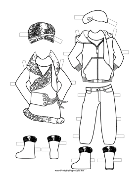 Girl Paper Doll Winter Outfits to Color paper doll