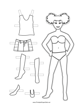 Girl Paper Doll to Color paper doll