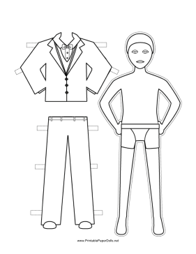 Groom Paper Doll to Color paper doll