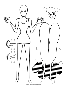 Halloween Mime Paper Doll to Color paper doll