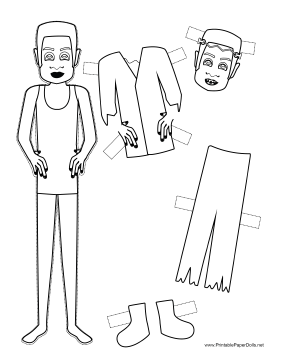 Halloween Monster Paper Doll to Color paper doll