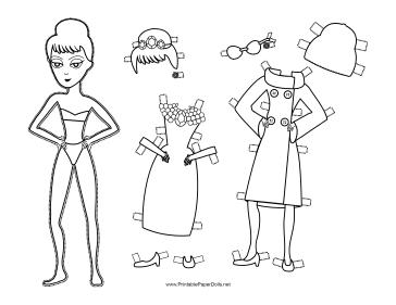 Holly Celebrity Paper Doll to Color paper doll