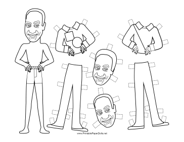 Huxtable Celebrity Paper Doll to Color paper doll