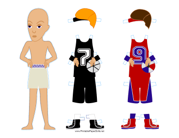 Male Basketball Player Paper Doll paper doll
