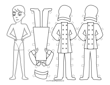 Male Chef Paper Doll to Color paper doll