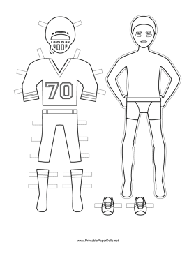 Male Football Player Paper Doll to Color paper doll
