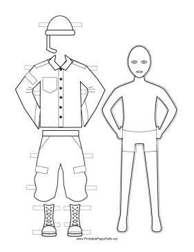 Male Soldier Paper Doll to Color paper doll