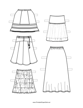 Paper Doll Long Skirts to Color paper doll