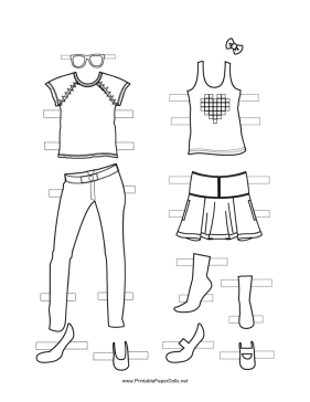Paper Doll Outfits with Bow to Color paper doll