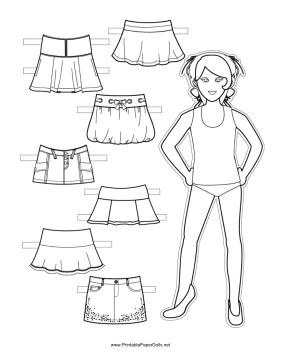 Paper Doll Skirts to Color paper doll