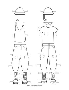 Paper Doll Uniforms to Color paper doll
