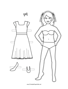 Paper Doll with Hair Ribbon to Color paper doll
