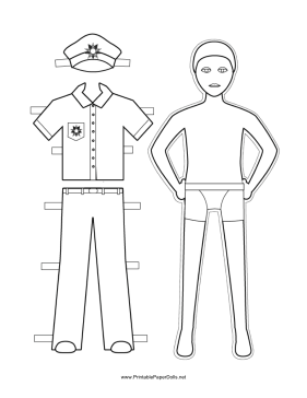 Policeman Paper Doll to Color paper doll