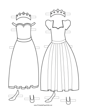 Princess Paper Doll Outfits to Color paper doll