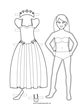 Princess Paper Doll to Color paper doll