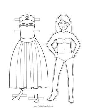 Princess Sleeveless Paper Doll to Color paper doll