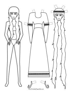 Rapunzel Paper Doll to Color paper doll