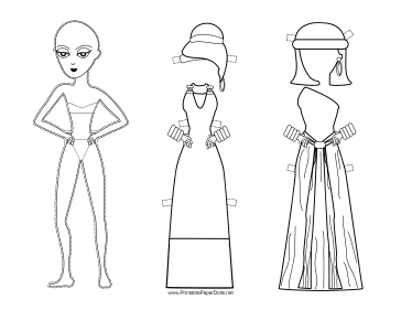 Roman Lady Paper Doll to Color paper doll