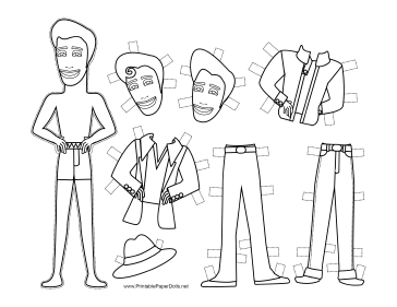 Vinnie Celebrity Paper Doll to Color paper doll