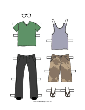 Boy Paper Doll Outfits with Jeans and Shorts paper doll