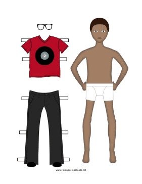 Boy Paper Doll with Red Shirt paper doll