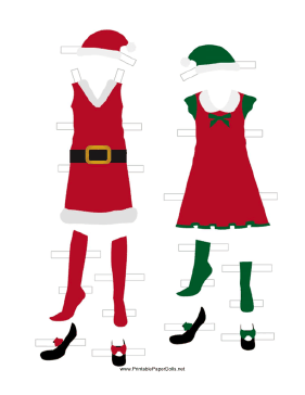 Christmas Paper Doll Outfits paper doll