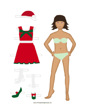 Christmas Paper Doll in Red paper doll