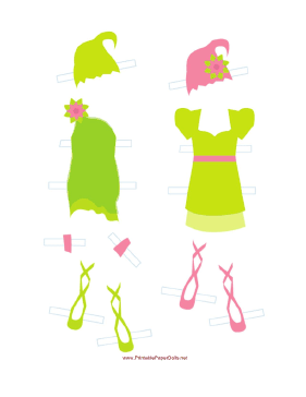 Green Fairy Paper Doll Outfits paper doll