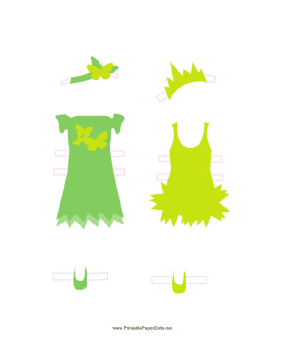 Green/Yellow Fairy Paper Doll Outfits paper doll