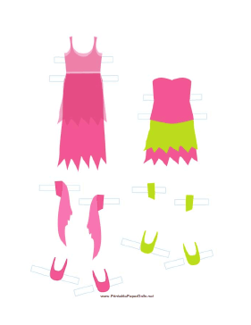 Pink/Green Fairy Paper Doll Outfits paper doll