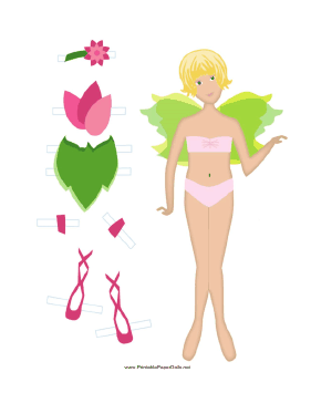 Green Paper Doll Fairy paper doll