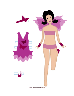 Purple Paper Doll Fairy paper doll