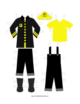 Black Paper Doll Fireman Outfits paper doll