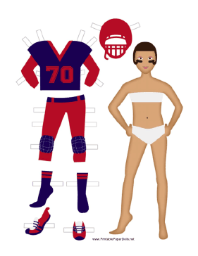 Female Football Player Paper Doll paper doll