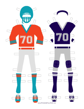 Football Player Paper Doll Outfits paper doll