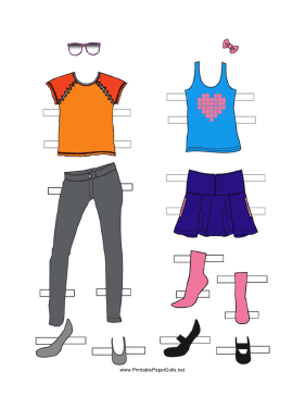 Girl Paper Doll Outfits with Heart Tanktop paper doll